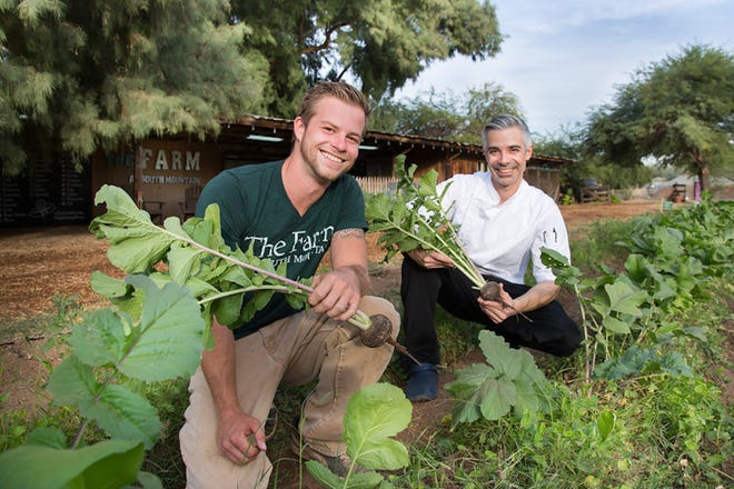 Grower Billy Anthony & Executive Chef Dustin Christofolo in Soil & Seed Garden.