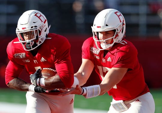 Rutgers quarterback Johnny Langan, right, and running back Isaih Pacheco key a fairly listless Scarlet Knight's offense, outside of whatever ground game these two can produce.