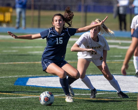 Middletown South Girls Soccer vs Red Bank Catholic in Shore Conference Tournament Semifinal game in West Long Branch NJ on October 19, 2019.
