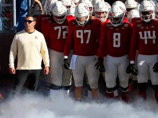 Oct 19, 2019; Piscataway, NJ, USA; Rutgers Scarlet Knights head coach Nunzio Campanile with football team before start of game against the Minnesota Golden Gophers  at SHI Stadium. Mandatory Credit: Noah K. Murray-USA TODAY Sports
