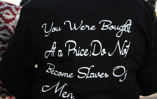 The back of a Walk for Freedom participant's T-shirt. Oct. 19 2019