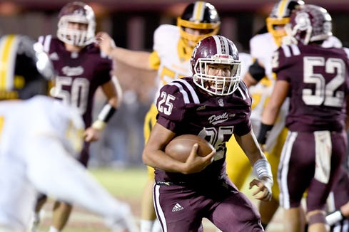 Swain County quarterback Damian Lossiah runs the ball against Murphy during their game at Swain County High School on Oct. 18, 2019.
