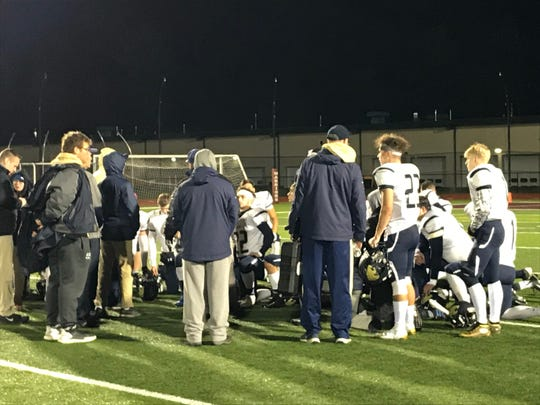 Susquehanna Valley players and coaches gather following their 53-8 Section 4 Football Conference victory Friday at Sidney.