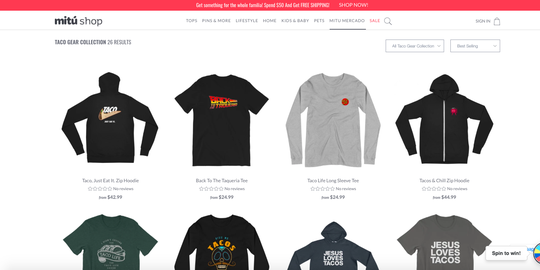 Taco Gear teamed up with Mitu to launch 15 popular designs for the company's online store.