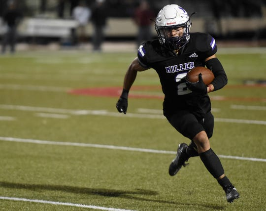 Miller faces Flour Bluff in a 15-5A Division I football game, Friday, Oct. 18, 2019, at Buc Stadium. Miller won, 34-28.