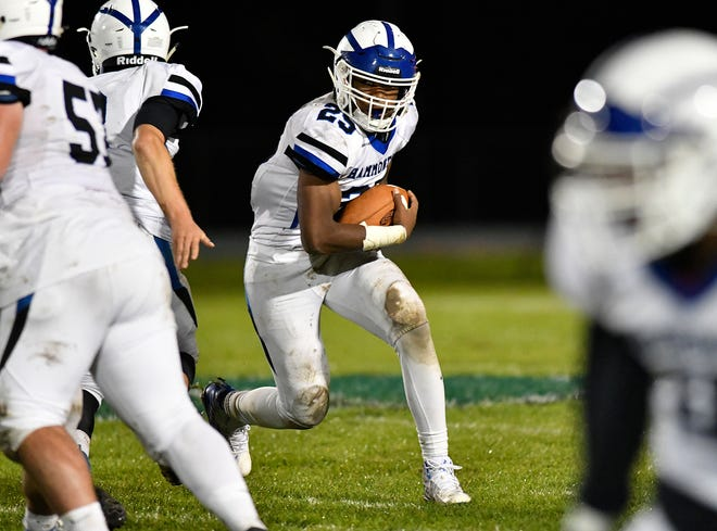 Hammonton's Jaiden Abrams runs for a gain during a game against Winslow on Friday night. The visiting Blue Devils topped the Eagles 29-0 on Oct. 18, 2019.
