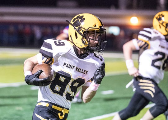 Paint Valley's Caleb Adams carries the ball during a 34-0 win over Zane Trace Friday night at Zane Trace High School.