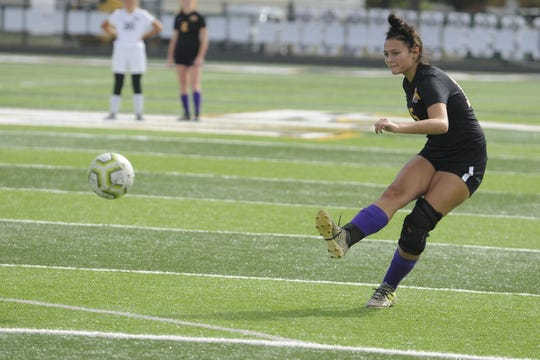Unioto senior Kylee Bethel scores on a free kick during a 5-0 win over Miami Trace in a D-II Sectional Final on Saturday, Oct. 19, 2019 at Miami Trace High School in Washington Court House, Ohio.
