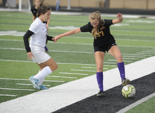 Unioto's Autumn Stanger dribbles the ball during a 5-0 win over Miami Trace in a D-II Sectional Final on Saturday, Oct. 19, 2019 at Miami Trace High School in Washington Court House, Ohio. Stanger scored five goals in two tournament games on the week.