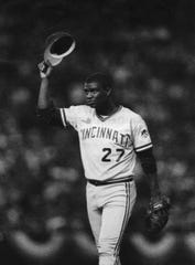 OCTOBER 20, 1990: Jose Rijo tips his hat to the crowd as he leaves the game in the eighth inning. He was named World Series MVP.