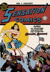 The cover of a vintage Wonder Woman comic book shows the character as she first appeared to the public.