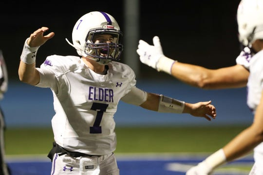 Elder Panthers quarterback Matthew Luebbe (7) reacts after a touchdown during the game against the Elder Panthers and the Winton Woods Warriors on October 18th 2019, at Winton Woods High School.