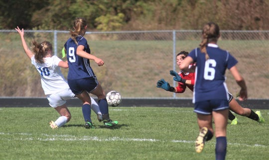Highlands soph Chloe Bramble scores the eventual winning goal.