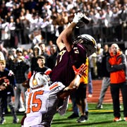 Turpin wide receiver Max Gundrum (17) makes the game winning 2 point conversion catch giving the Spartans a 29-28 last second victory over Anderson, October 18, 2019.