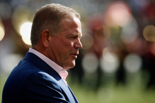 Notre Dame coach Brian Kelly returned to Nippert Stadium Saturday October 19, 2019 to be honored for his induction into the UC athletics Hall of Fame.