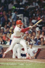 Cincinnati Reds third baseman Chris Sabo bats in the second inning of the  the All Star game, July 11, 1990, in Chicago.