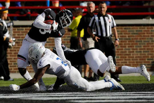 Cincinnati Bearcats safety Ja'von Hicks (3) intercepts a pass in the end zone during the second quarter of the NCAA American Athletic Conference game between the Cincinnati Bearcats and the Tulsa Golden Hurricane at Nippert Stadium in Cincinnati on Saturday, Oct. 19, 2019.