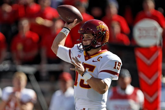 Iowa State's Brock Purdy (15) passes the ball during the first half of an NCAA college football game against Texas Tech, Saturday, Oct. 19, 2019, in Lubbock, Texas.