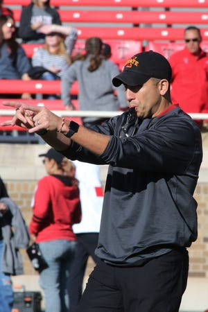 Oct 19, 2019; Lubbock, TX, USA; Iowa State Cyclones head coach Matt Campbell before the game against the Texas Tech Red Raiders at Jones AT&T Stadium.
