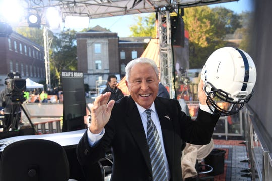 "Lee Corso on the set of ""College GameDay"" in University Park, Pennsylvania on Oct. 19, 2019."