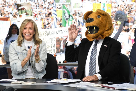 "Lara Spencer and Lee Corso on the set of ""College GameDay"" in University Park, Pennsylvania on Oct. 19, 2019."