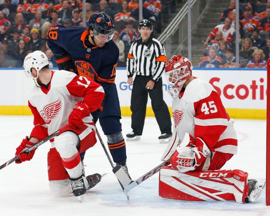 Edmonton Oilers forward James Neal (18) looks for a rebound in front of Detroit Red Wings goaltender Jonathan Bernier (45) during the first period at Rogers Place on Friday, Oct. 18, 2019, in Edmonton, Alberta.
