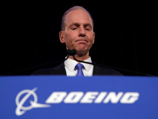 FILE - In this April 29, 2019 file photo, Boeing Chief Executive Dennis Muilenburg speaks during a news conference after the company's annual shareholders meeting at the Field Museum in Chicago.