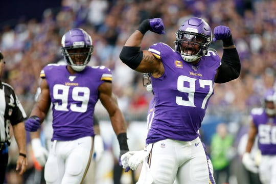 Vikings defensive ends Everson Griffen (97) and Danielle Hunter (99) have been a nightmare for opposing offensive linemen.