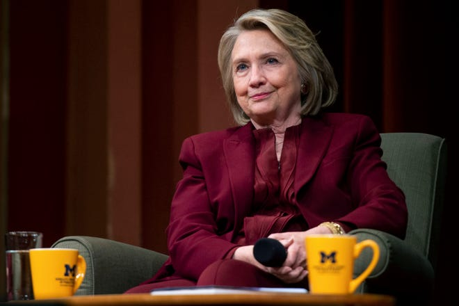 Hillary Clinton lectures on foreign policy at Rackham Auditorium, Thursday, Oct. 10, 2019, in Ann Arbor.