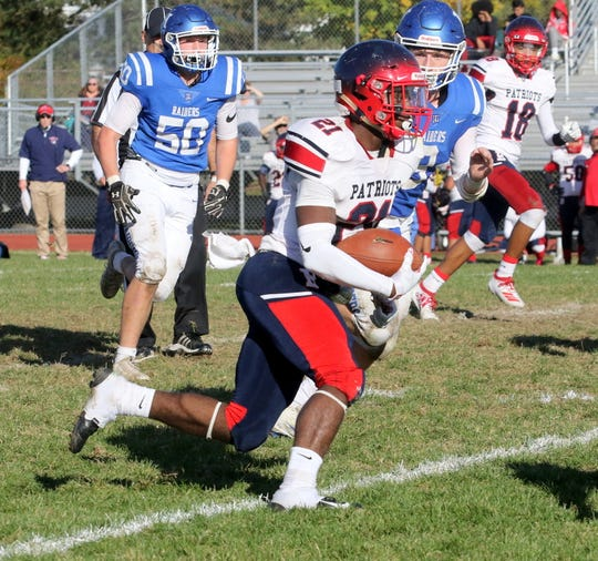 Jamar Dimanche picks up a big gain for Binghamton during a 35-28 loss to Horseheads on Oct. 19, 2019 at Horseheads High School.