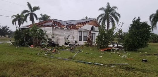 Damage left in Northwest Cape Coral Saturday morning after a possible tornado touched down.