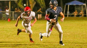 The Sharks got the scoring early and often Friday night, and it was led by Daniel Rennie, who threw three touchdown passes and had 222 yards passing.