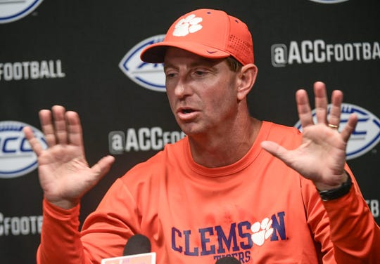 Clemson Head Coach Dabo Swinney talks with media after the game at Cardinal Stadium in Louisville, Kentucky Saturday, October 19, 2019.