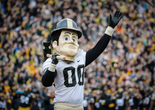 The Purdue mascot waves to the Stead Family Children's Hospital at the conclusion of the first quarter against Iowa on Saturday, Oct. 19, 2019, at Kinnick Stadium in Iowa City.