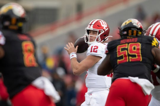 Indiana Hoosiers quarterback Peyton Ramsey (12) throws from the pocket during the second quarter of the game against the Maryland Terrapins at Capital One Field at Maryland Stadium.