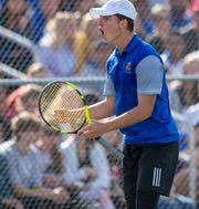 FILE – Presley Thieneman finished the season unbeaten and the IHSAA boys singles champion.