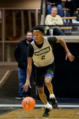 Purdue guard Eric Hunter Jr. (2) dribbles down the court during scrimmage, Saturday, Oct. 19, 2019 at Mackey Arena in West Lafayette.