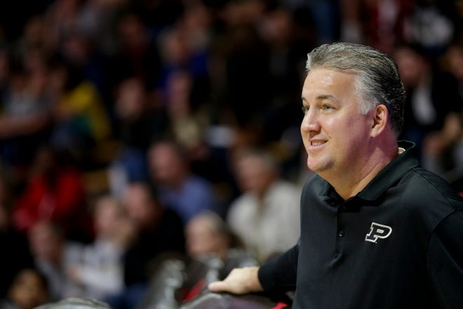 Purdue head coach Matt Painter reacts during scrimmage, Saturday, Oct. 19, 2019 at Mackey Arena in West Lafayette.