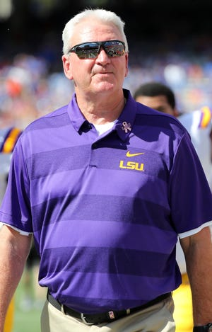Oct 6, 2018; Gainesville, FL, USA; LSU Tigers offensive coordinator Steve Ensminger prior to the game at Ben Hill Griffin Stadium. Mandatory Credit: Kim Klement-USA TODAY Sports