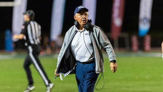 Cougars head coach Jim Hightower as STM takes on Teurlings football. Friday, Oct. 18, 2019.