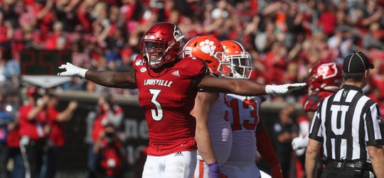 Louisville's Russ Yeast celebrates after Clemson missed a field goal on Oct. 19, 2019.