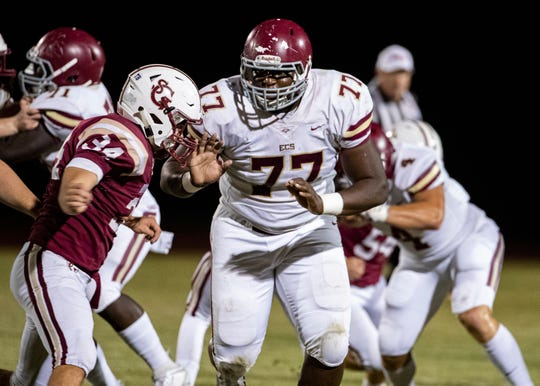 Lineman Dietrick Pennington (77) helped lead ECS to its first Division II-AA state title in more than a decade.