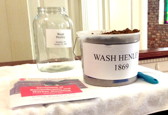 Soil taken from the site of the lynching of Wash Henley will be placed in a jar to commemorate the 1869 event. It is displayed at Collins Chapel Christian Methodist Episcopal Church in Memphis on Saturday, Oct. 19, 2019.