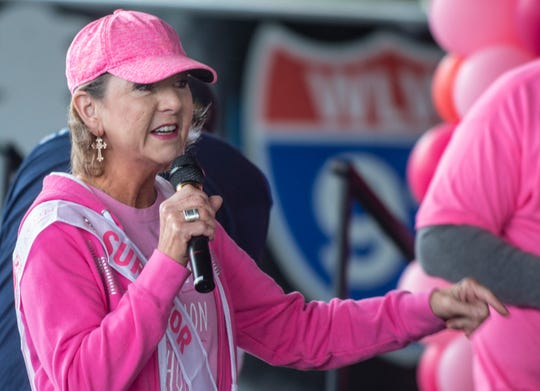 Jenny Dodson, a three year breast cancer survivor, talks to the crowd. The American Cancer Society Making Strides Against Breast Cancer walk united breast cancer survivors and the community on Saturday, Oct. 19, 2019, at the Union Station Train Shed in downtown Montgomery.