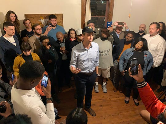 Beto O'Rourke, a candidate for the Democratic nomination for President, stopped by the Goat Haus Biergarten in Montgomery to talk with residents about rural healthcare, gun control and climate change.