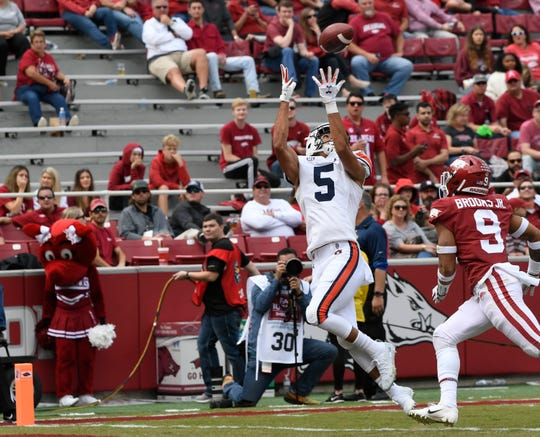 Auburn's Anthony Schwartz scores a touchdown in the second half against Arkansas on Saturday, Oct. 19, 2019 in Fayetteville, AK.