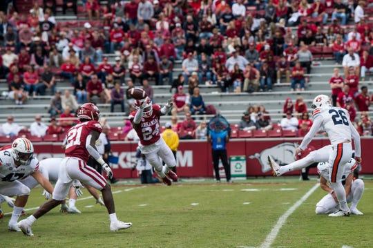 Auburn kicker Anders Carlson (26) kicks Auburn's 303 consecutive extra point, a new NCAA record, at Donald W. Reynolds Razorback Stadium in Fayetteville, Ark., on Saturday, Oct. 19, 2019. Auburn defeated Arkansas 51-10.