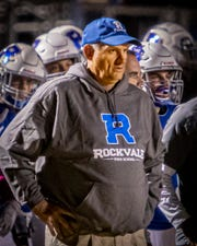 Rockvale coach Rick Rice surveys the action during Friday's loss to Blackman.