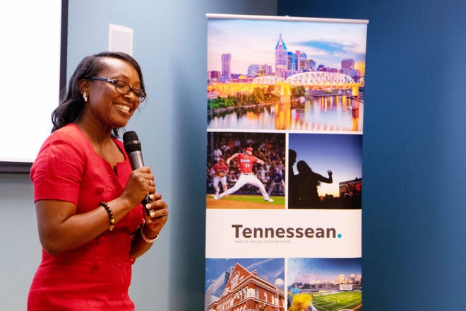 Granbery Elementary School teacher Paula Pendergrass speaks during a town hall meeting on education Oct. 19, 2019, at the Nashville Public Library's Bordeaux branch. The Tennessean hosted the event.