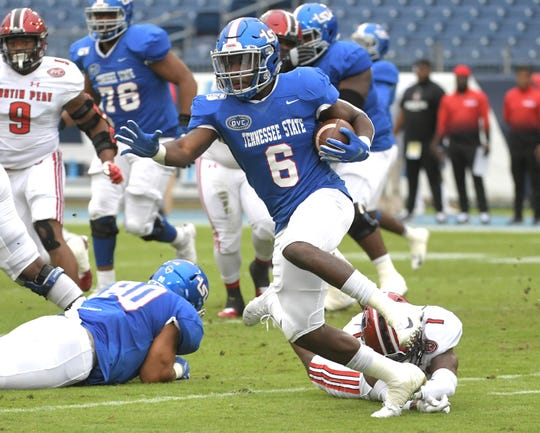 TSU running back Te'kendrick Roberson (6) escapes a tackle during a game with Austin Peay at Nissan Stadium in Nashville on Saturday, Oct. 19, 2019.